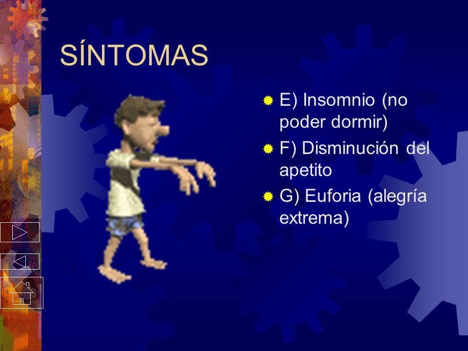 SÍNTOMAS C) Taquicardia (fuertes latidos del corazón) D) Nerviosismo (mariposas en el estomago, sudoración, excesiva, enrojecimiento del rostro)