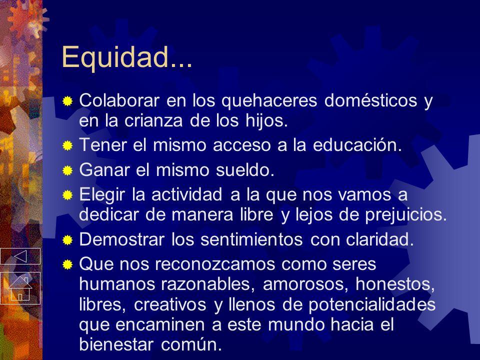Equidad... Son nuestras acciones las que nos convierten en mejores personas, son nuestras creaciones los que nos convierten en seres importantes, no e