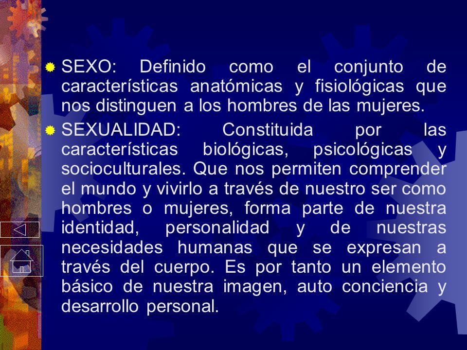 SEXO: Definido como el conjunto de características anatómicas y fisiológicas que nos distinguen a los hombres de las mujeres.