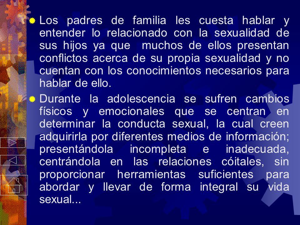 Los padres de familia les cuesta hablar y entender lo relacionado con la sexualidad de sus hijos ya que muchos de ellos presentan conflictos acerca de su propia sexualidad y no cuentan con los conocimientos necesarios para hablar de ello.
