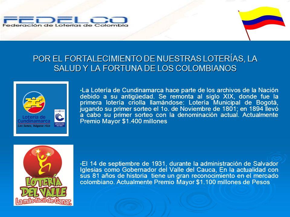 POR EL FORTALECIMIENTO DE NUESTRAS LOTERÍAS, LA SALUD Y LA FORTUNA DE LOS COLOMBIANOS La Lotería de Cundinamarca hace parte de los archivos de la Naci