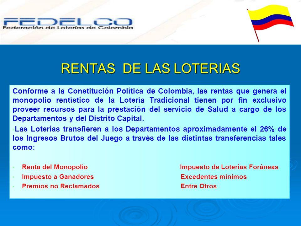 RENTAS DE LAS LOTERIAS Conforme a la Constitución Política de Colombia, las rentas que genera el monopolio rentístico de la Lotería Tradicional tienen