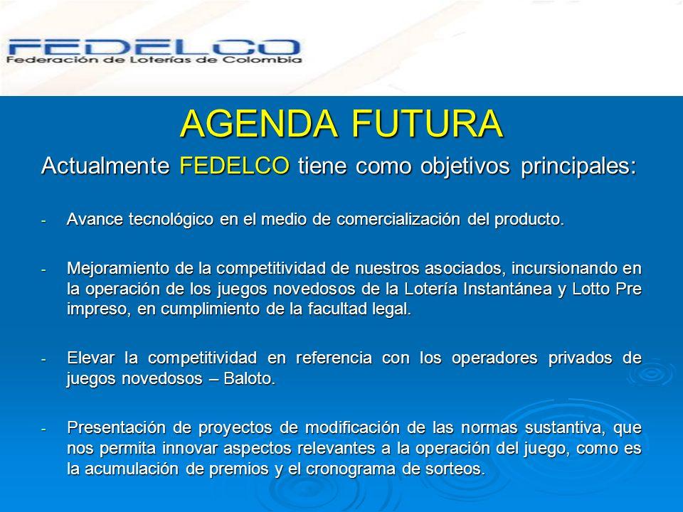 AGENDA FUTURA Actualmente FEDELCO tiene como objetivos principales: - Avance tecnológico en el medio de comercialización del producto. - Mejoramiento