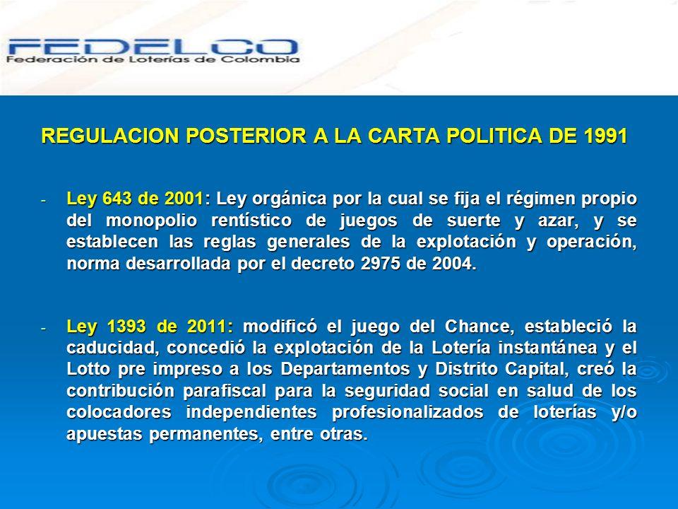 REGULACION POSTERIOR A LA CARTA POLITICA DE 1991 - Ley 643 de 2001: Ley orgánica por la cual se fija el régimen propio del monopolio rentístico de jue