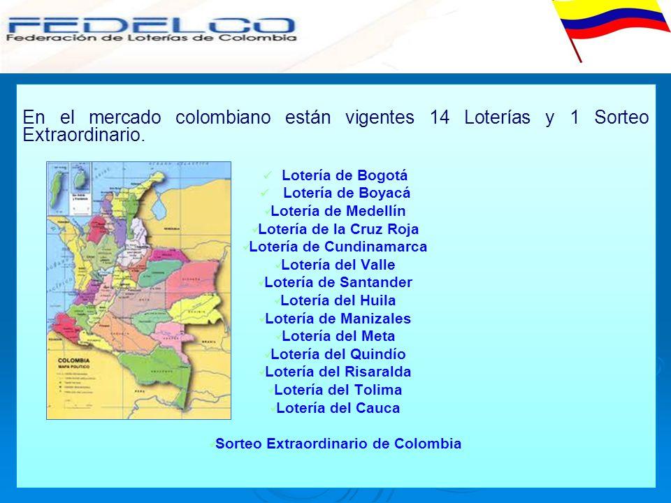 En el mercado colombiano están vigentes 14 Loterías y 1 Sorteo Extraordinario. Lotería de Bogotá Lotería de Boyacá Lotería de Medellín Lotería de la C