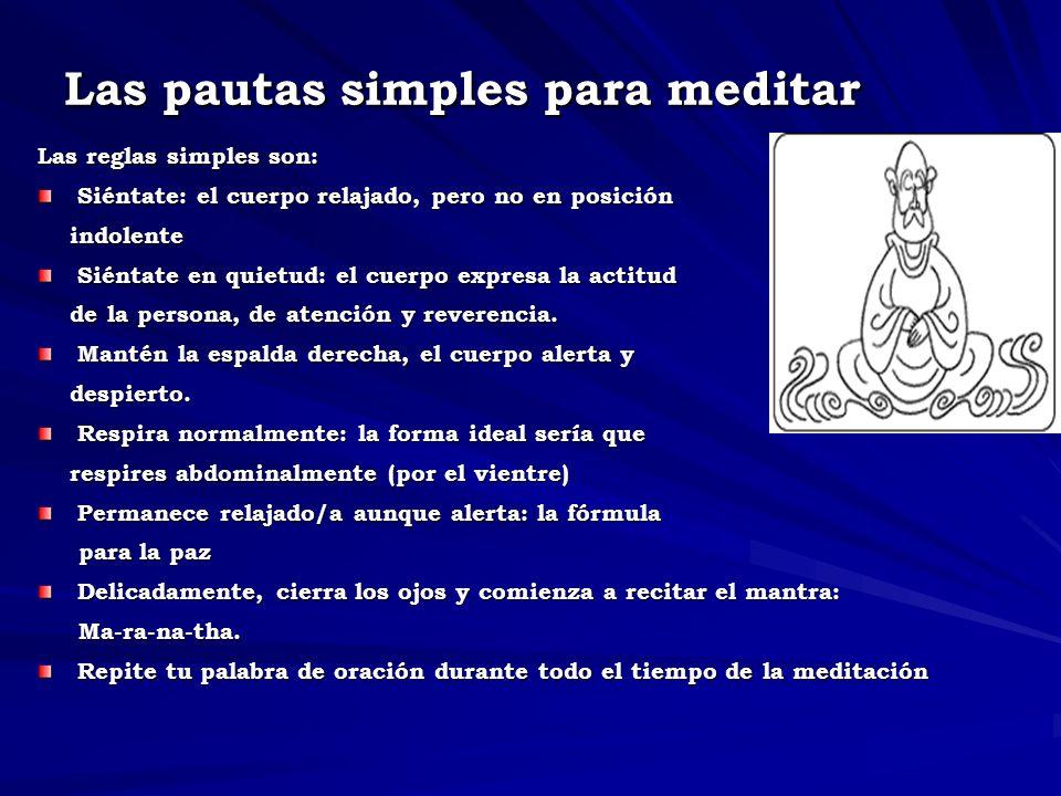 Las pautas simples para meditar Las reglas simples son: Siéntate: el cuerpo relajado, pero no en posición indolente indolente Siéntate en quietud: el cuerpo expresa la actitud de la persona, de atención y reverencia.