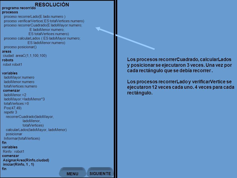 Los procesos recorrerCuadrado, calcularLados y posicionar se ejecutaron 3 veces.