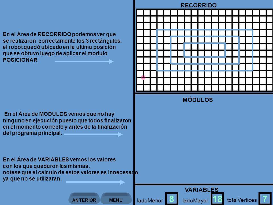 VARIABLES RECORRIDO En el Área de RECORRIDO podemos ver que se realizaron correctamente los 3 rectángulos.