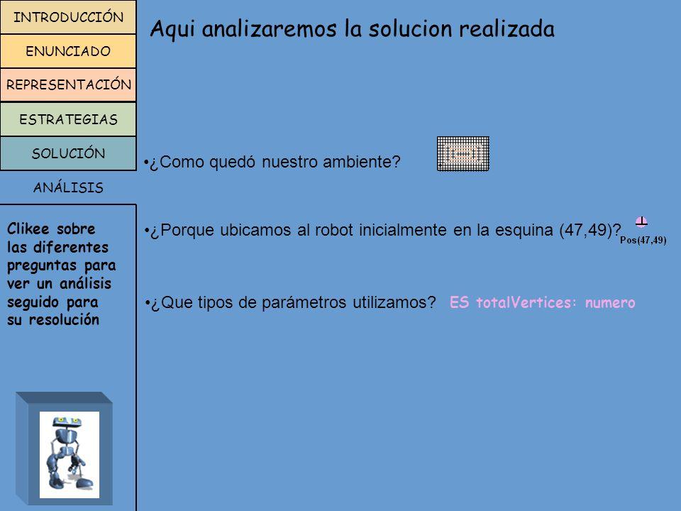proceso verificarVertice( ES totalVertices:numero) comenzar si(HayFlorEnLaEsquina) totalVertices:=totalVertices+1 fin VARIABLES RECORRIDO proceso recorrerCuadrado(E ladoMayor:numero; E ladoMenor:numero; ES totalVertices:numero) comenzar repetir 2 recorrerLado(ladoMenor) verificarVertice(totalVertices) derecha recorrerLado(ladoMayor) verificarVertice(totalVertices) derecha fin ladoMayorladoMenor totalVertices 6414 MÓDULOS RESOLUCIÓN MENU SIGUIENTE ANTERIOR programa recorrido procesos proceso recorrerLado(E lado:numero ) proceso verificarVertice( ES totalVertices:numero) proceso recorrerCuadrado(E ladoMayor:numero; E ladoMenor:numero; ES totalVertices:numero) proceso calcularLados ( ES ladoMayor:numero; ES ladoMenor:numero) proceso posicionar() areas ciudad: areaC(1,1,100,100) robots robot robot1 variables ladoMayor:numero ladoMenor:numero totalVertices:numero comenzar ladoMenor:=2 ladoMayor:=ladoMenor*3 totalVertices:=0 Pos(47,49) repetir 3 recorrerCuadrado(ladoMayor, ladoMenor, totalVertices) calcularLados(ladoMayor, ladoMenor) posicionar Informar(totalVertices) fin variables Rinfo : robot1 comenzar AsignarArea(Rinfo,ciudad) iniciar(Rinfo, 1, 1) fin