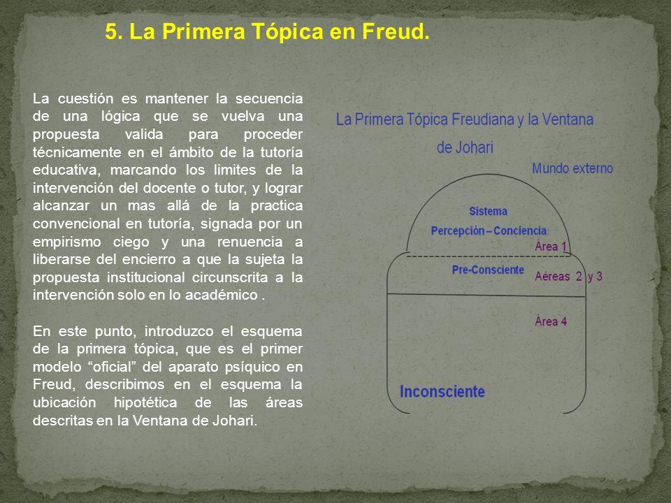 5. La Primera Tópica en Freud. La cuestión es mantener la secuencia de una lógica que se vuelva una propuesta valida para proceder técnicamente en el