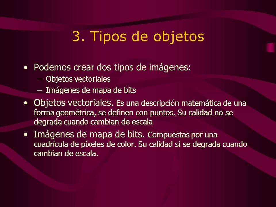 3. Tipos de objetos Podemos crear dos tipos de imágenes: –Objetos vectoriales –Imágenes de mapa de bits Objetos vectoriales. Es una descripción matemá