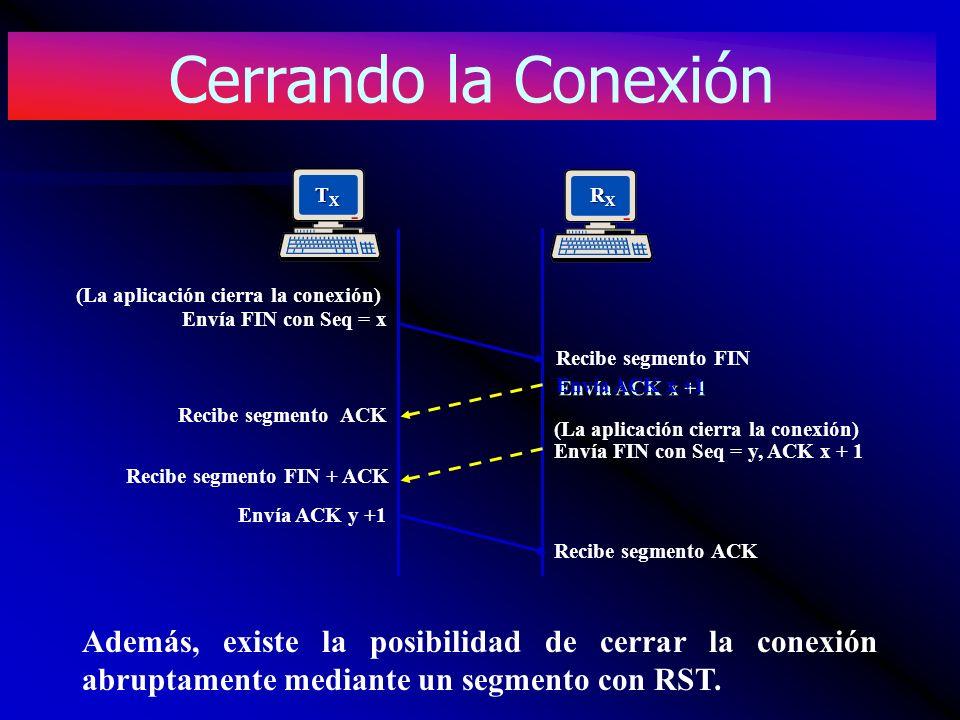 TXTXTXTX RXRXRXRX Recibe segmento ACK Envía FIN con Seq = x (La aplicación cierra la conexión) Envía ACK x +1 Recibe segmento FIN (La aplicación cierr