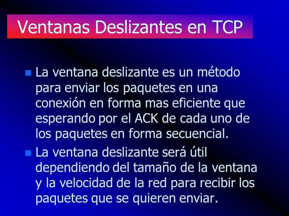 Ventanas Deslizantes en TCP n n La ventana deslizante es un método para enviar los paquetes en una conexión en forma mas eficiente que esperando por e