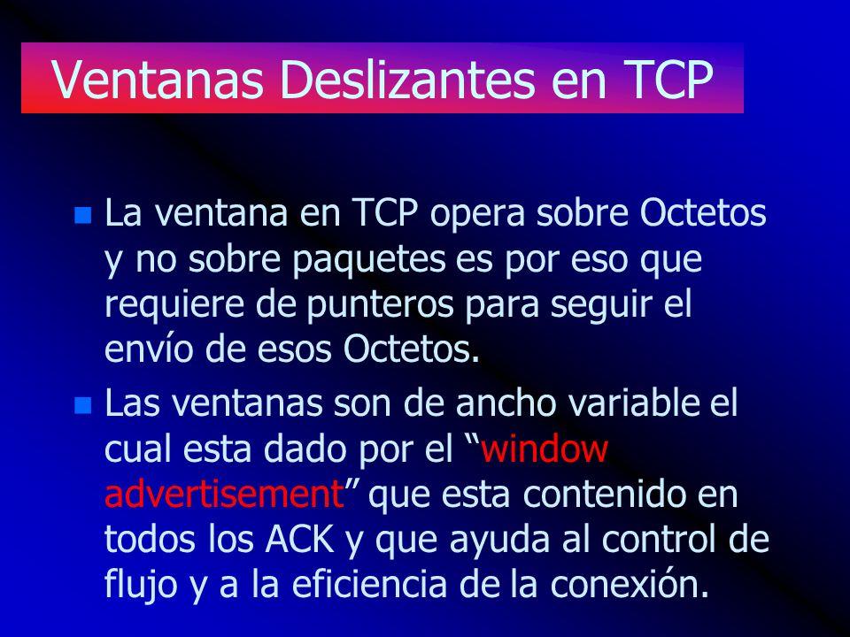Ventanas Deslizantes en TCP n n La ventana en TCP opera sobre Octetos y no sobre paquetes es por eso que requiere de punteros para seguir el envío de