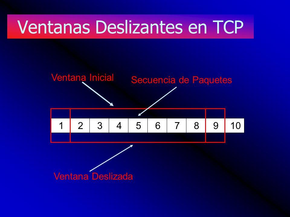 Ventanas Deslizantes en TCP 12345678910 Ventana Inicial Ventana Deslizada Secuencia de Paquetes