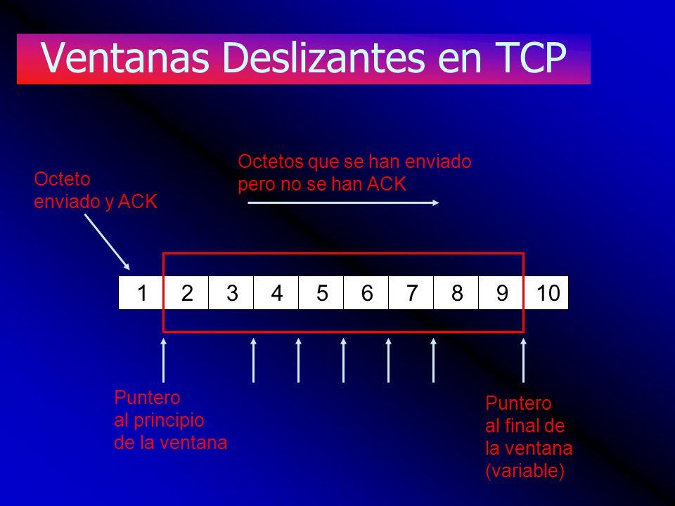 Ventanas Deslizantes en TCP 12345678910 Octetos que se han enviado pero no se han ACK Octeto enviado y ACK Puntero al principio de la ventana Puntero
