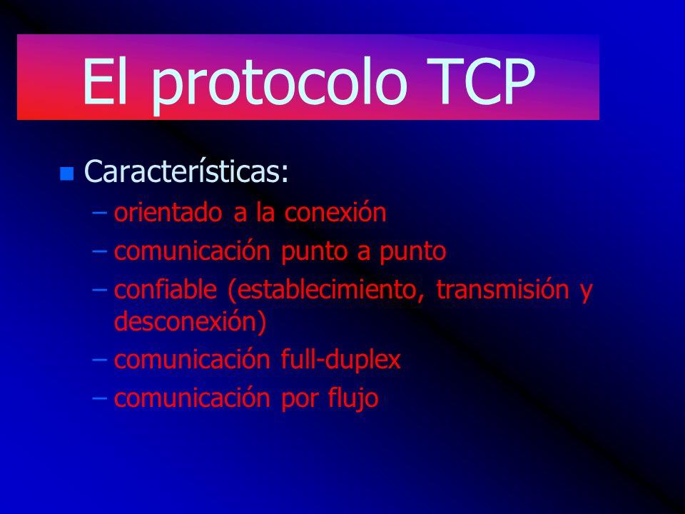 El protocolo TCP n n Características: – –orientado a la conexión – –comunicación punto a punto – –confiable (establecimiento, transmisión y desconexió