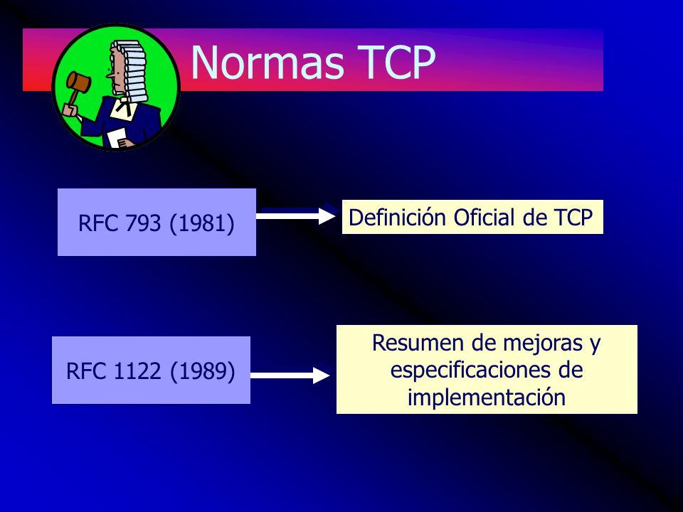 Normas TCP RFC 793 (1981) RFC 1122 (1989) Definición Oficial de TCP Resumen de mejoras y especificaciones de implementación
