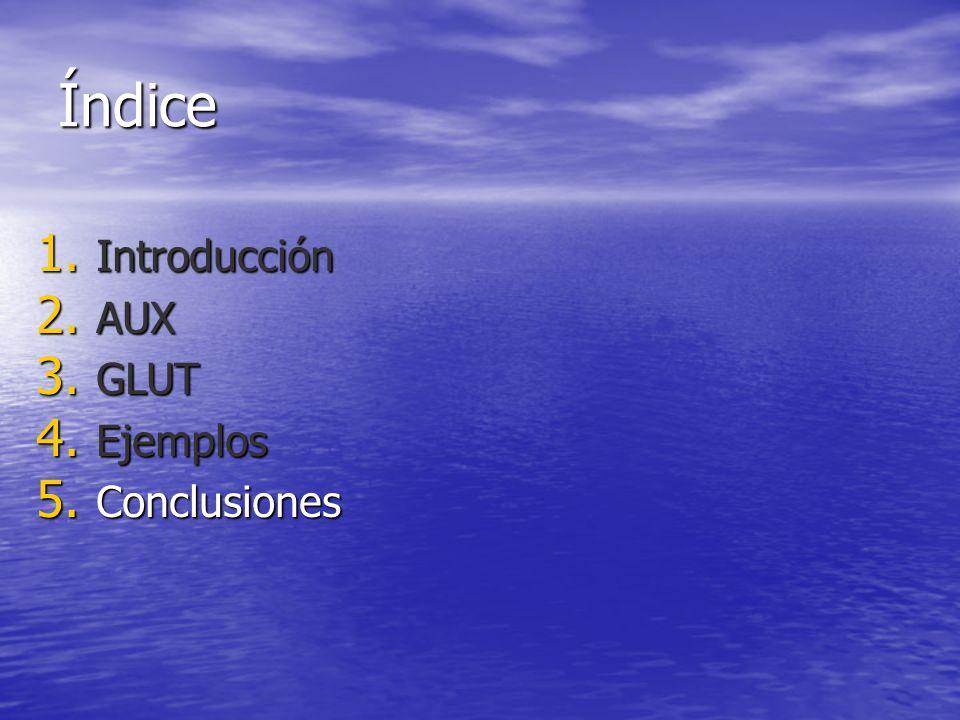 Índice 1. Introducción 2. AUX 3. GLUT 4. Ejemplos 5. Conclusiones
