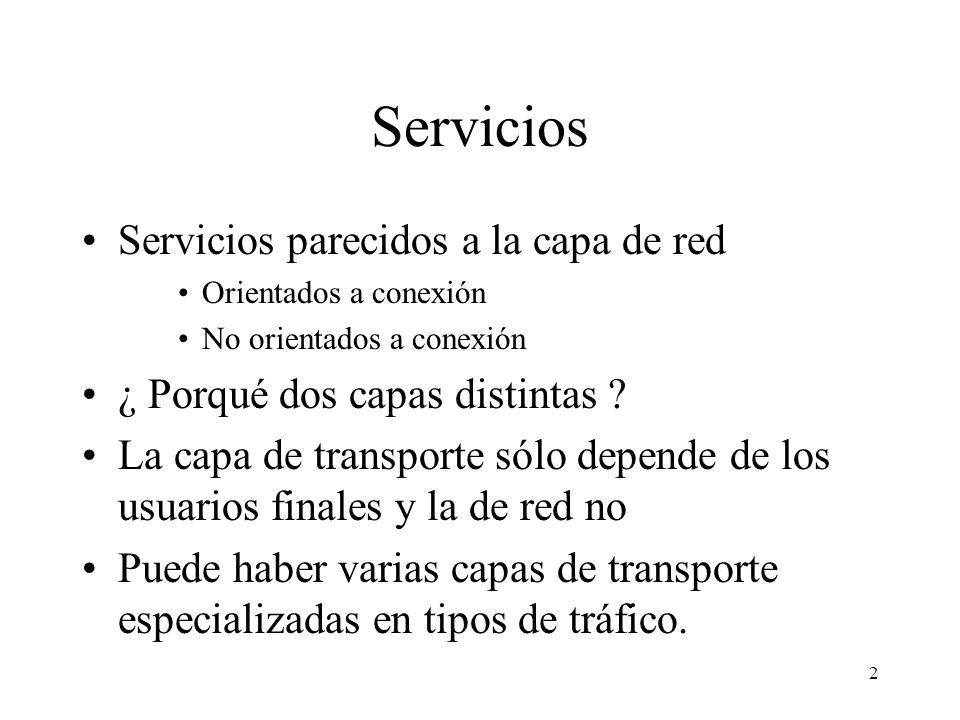 2 Servicios Servicios parecidos a la capa de red Orientados a conexión No orientados a conexión ¿ Porqué dos capas distintas ? La capa de transporte s