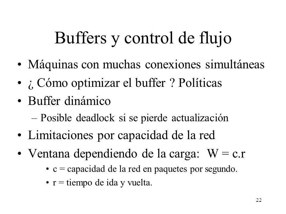 22 Buffers y control de flujo Máquinas con muchas conexiones simultáneas ¿ Cómo optimizar el buffer ? Políticas Buffer dinámico –Posible deadlock si s