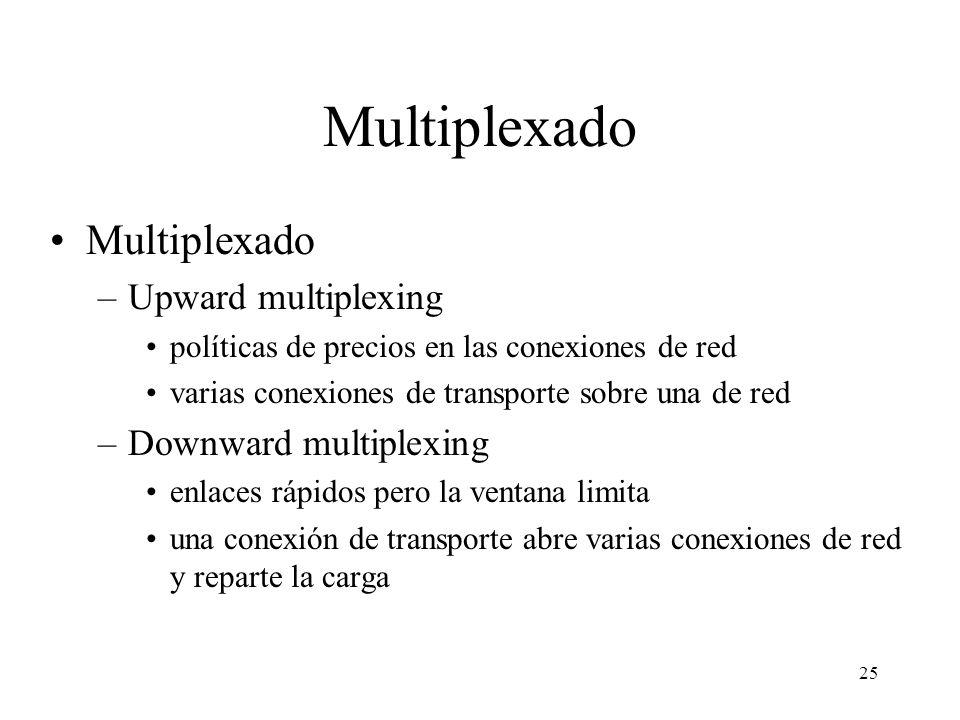 25 Multiplexado –Upward multiplexing políticas de precios en las conexiones de red varias conexiones de transporte sobre una de red –Downward multiple