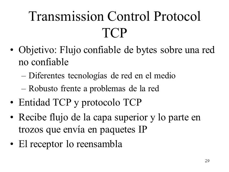 29 Transmission Control Protocol TCP Objetivo: Flujo confiable de bytes sobre una red no confiable –Diferentes tecnologías de red en el medio –Robusto