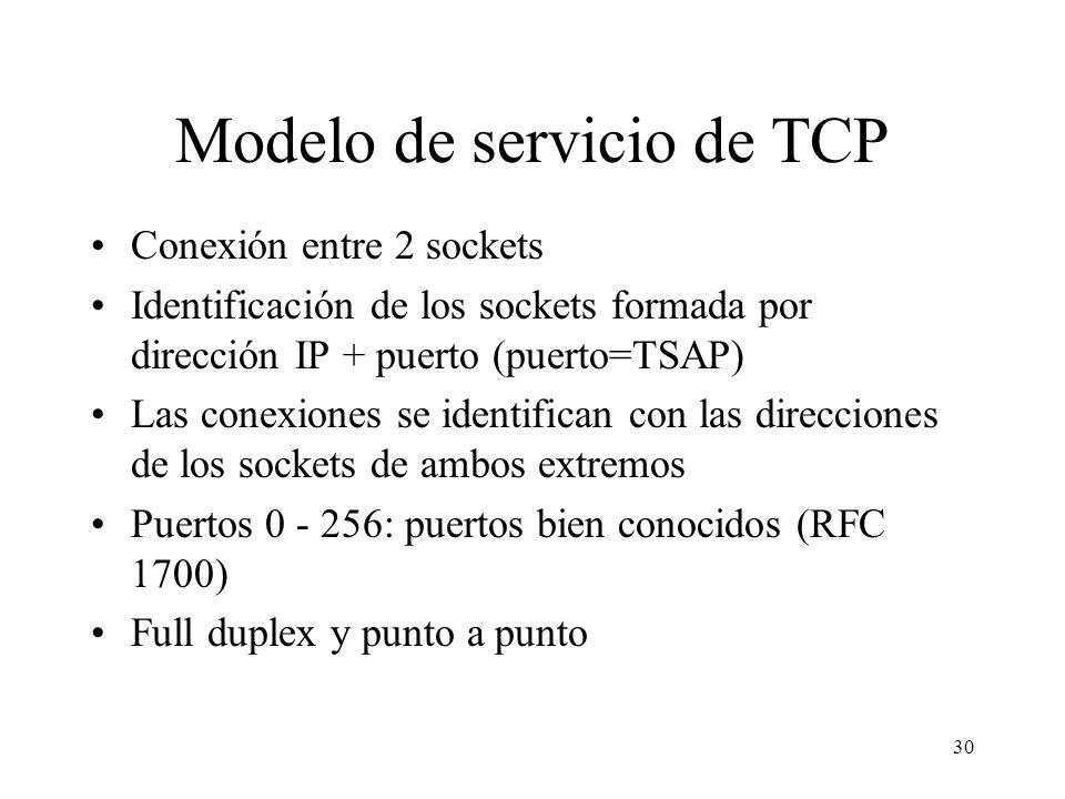 30 Modelo de servicio de TCP Conexión entre 2 sockets Identificación de los sockets formada por dirección IP + puerto (puerto=TSAP) Las conexiones se