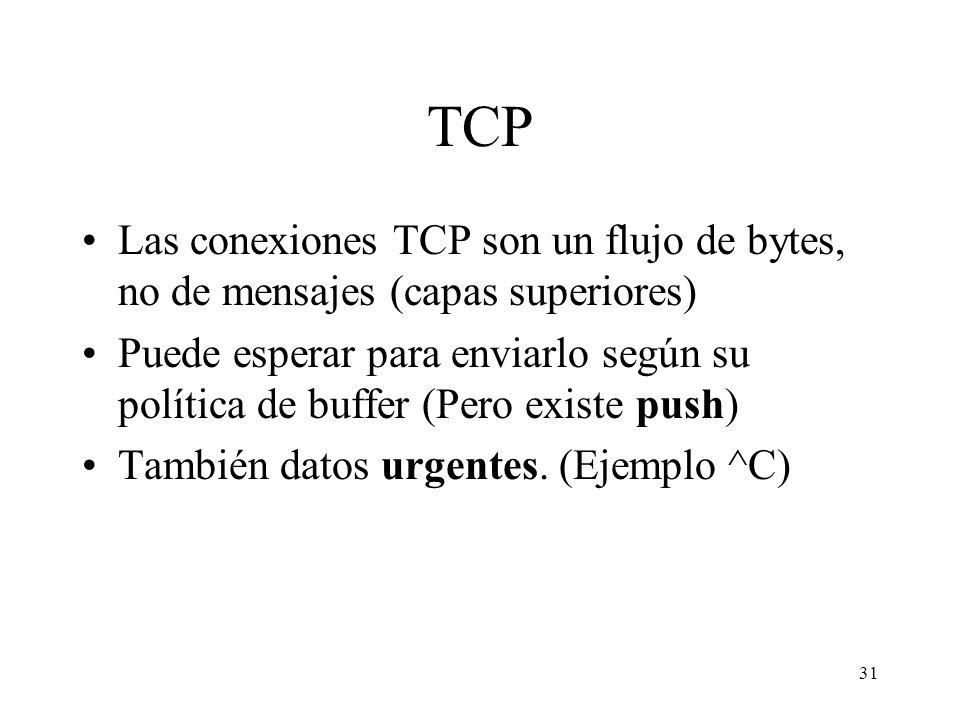 31 TCP Las conexiones TCP son un flujo de bytes, no de mensajes (capas superiores) Puede esperar para enviarlo según su política de buffer (Pero exist