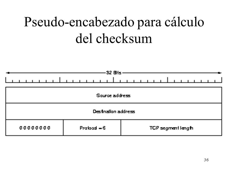 36 Pseudo-encabezado para cálculo del checksum