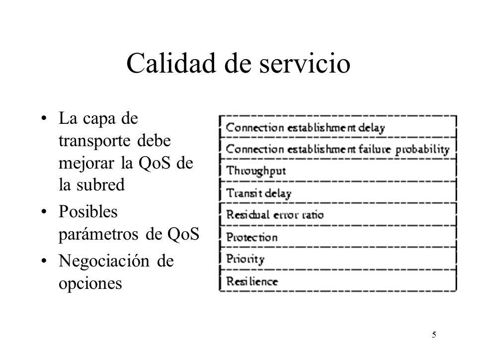 5 Calidad de servicio La capa de transporte debe mejorar la QoS de la subred Posibles parámetros de QoS Negociación de opciones