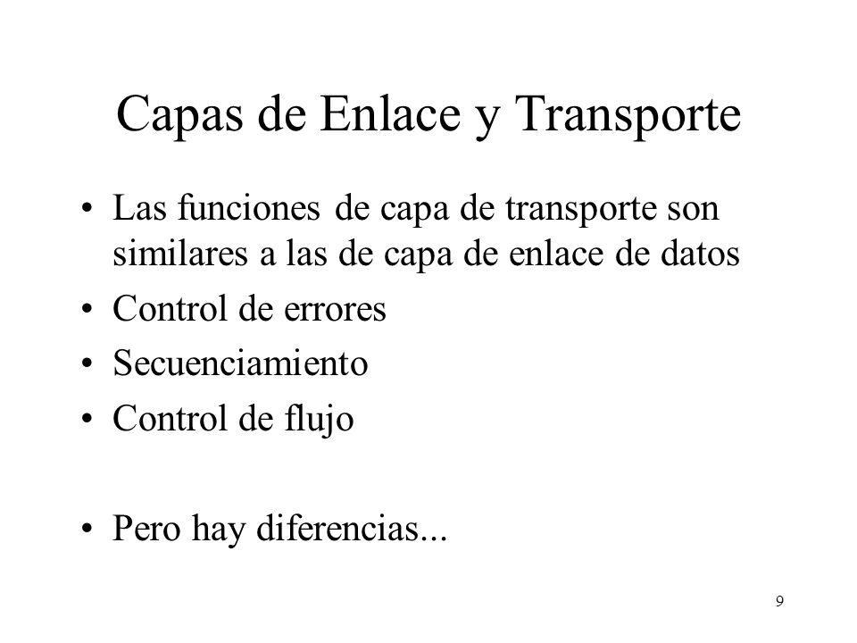 9 Capas de Enlace y Transporte Las funciones de capa de transporte son similares a las de capa de enlace de datos Control de errores Secuenciamiento C