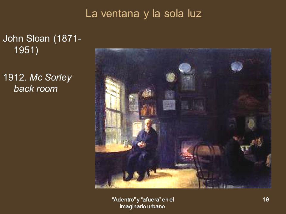 Adentro y afuera en el imaginario urbano. 19 La ventana y la sola luz John Sloan (1871- 1951) 1912.