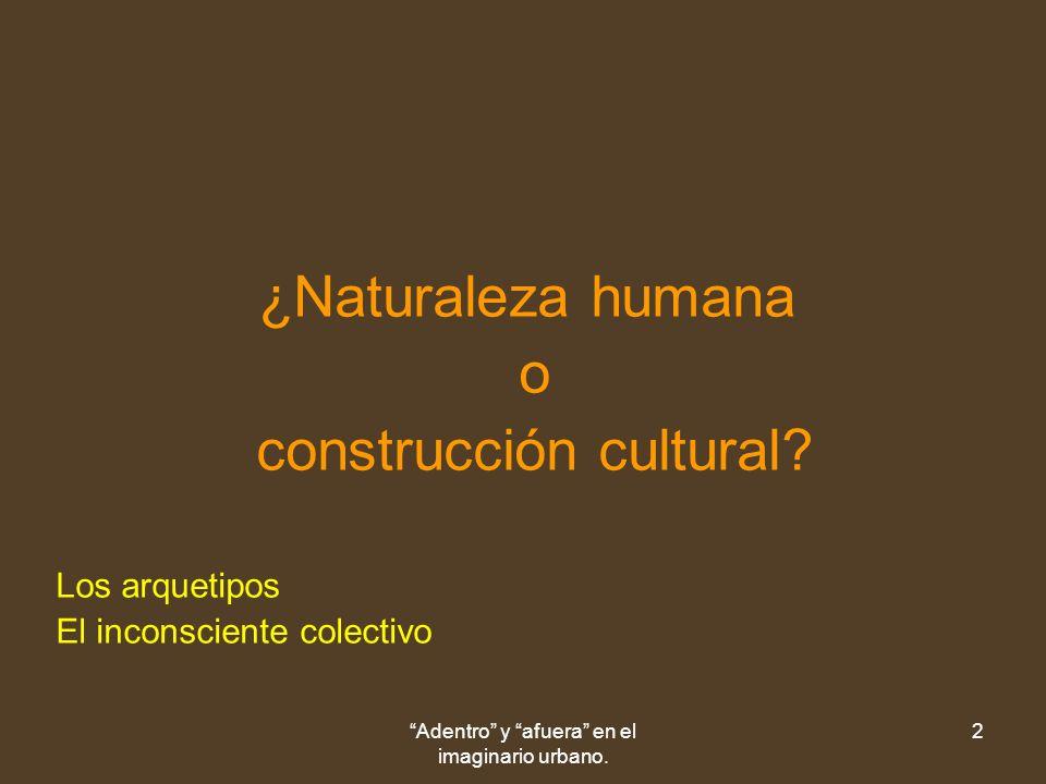 Adentro y afuera en el imaginario urbano. 2 ¿Naturaleza humana o construcción cultural.