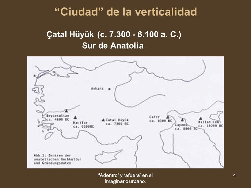 Adentro y afuera en el imaginario urbano. 4 Ciudad de la verticalidad Çatal Hüyük (c.