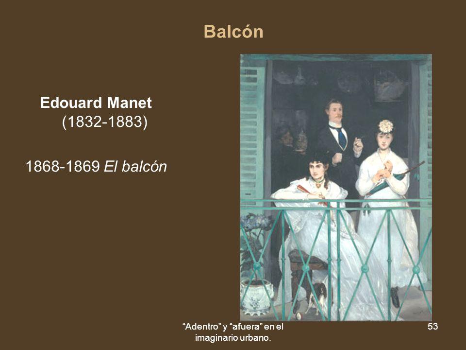 Adentro y afuera en el imaginario urbano. 53 Balcón Edouard Manet (1832-1883) 1868-1869 El balcón