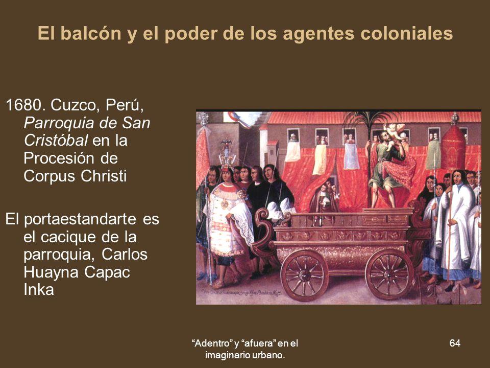 Adentro y afuera en el imaginario urbano. 64 El balcón y el poder de los agentes coloniales 1680.