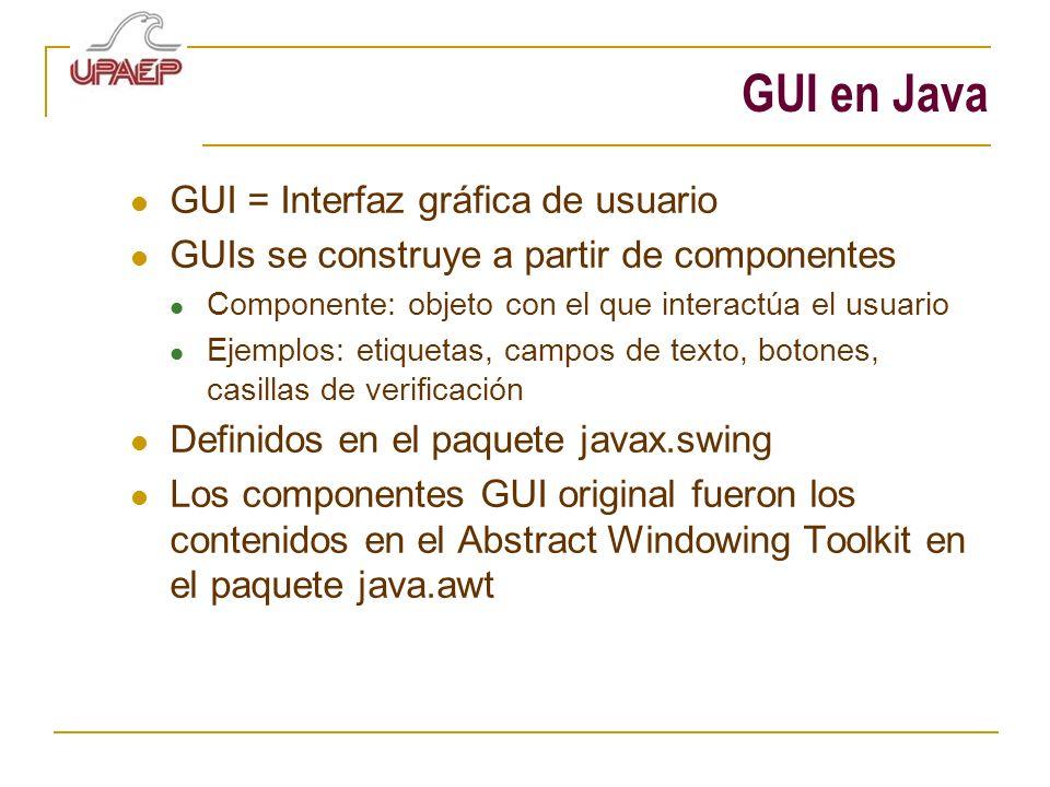 GUI en Java GUI = Interfaz gráfica de usuario GUIs se construye a partir de componentes Componente: objeto con el que interactúa el usuario Ejemplos: