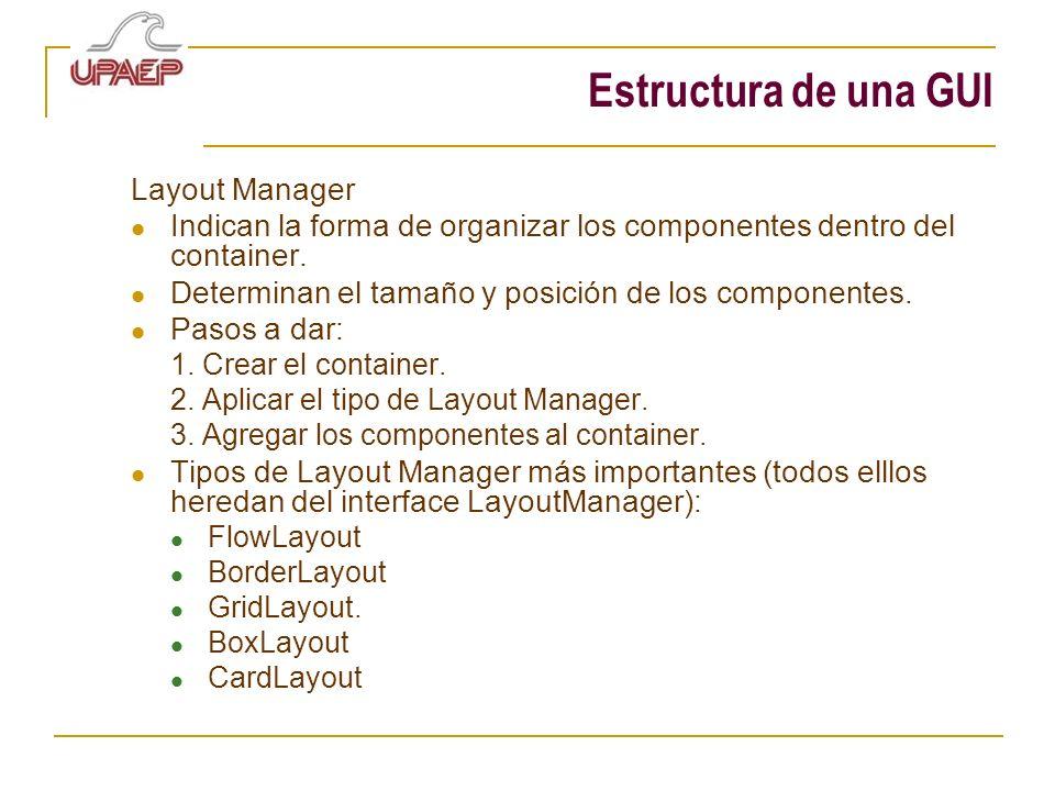 Estructura de una GUI Layout Manager Indican la forma de organizar los componentes dentro del container. Determinan el tamaño y posición de los compon