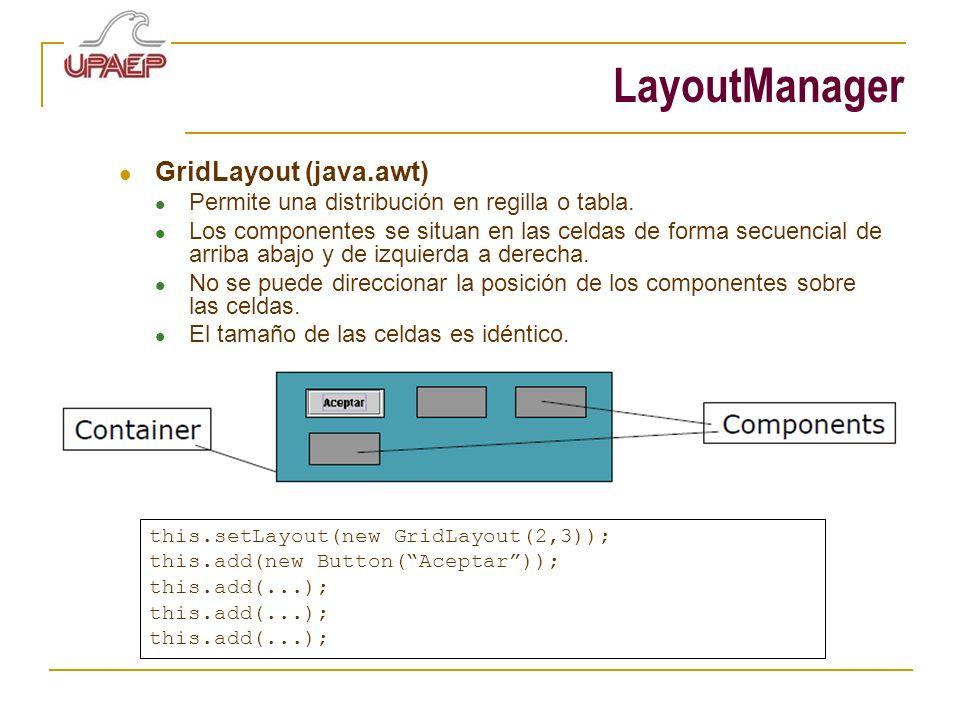LayoutManager GridLayout (java.awt) Permite una distribución en regilla o tabla. Los componentes se situan en las celdas de forma secuencial de arriba