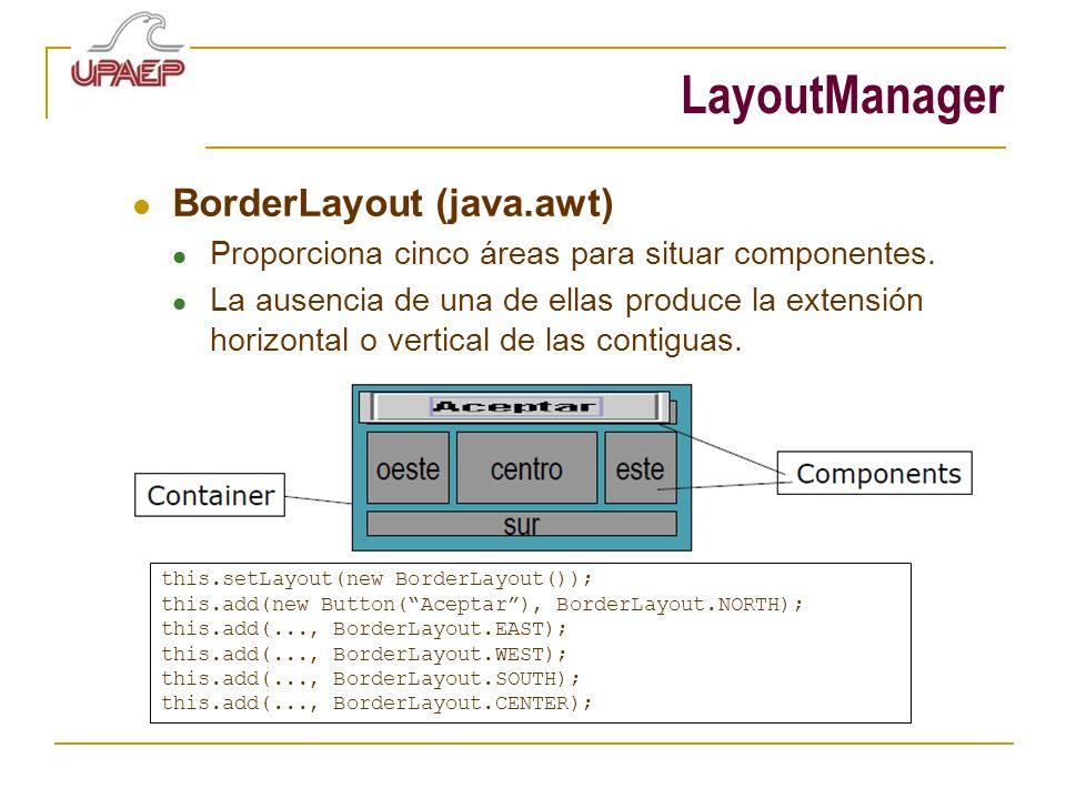 LayoutManager BorderLayout (java.awt) Proporciona cinco áreas para situar componentes. La ausencia de una de ellas produce la extensión horizontal o v
