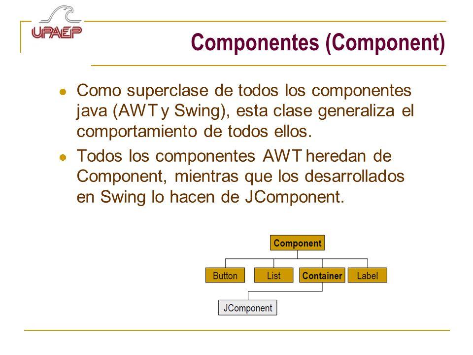 Componentes (Component) Como superclase de todos los componentes java (AWT y Swing), esta clase generaliza el comportamiento de todos ellos. Todos los