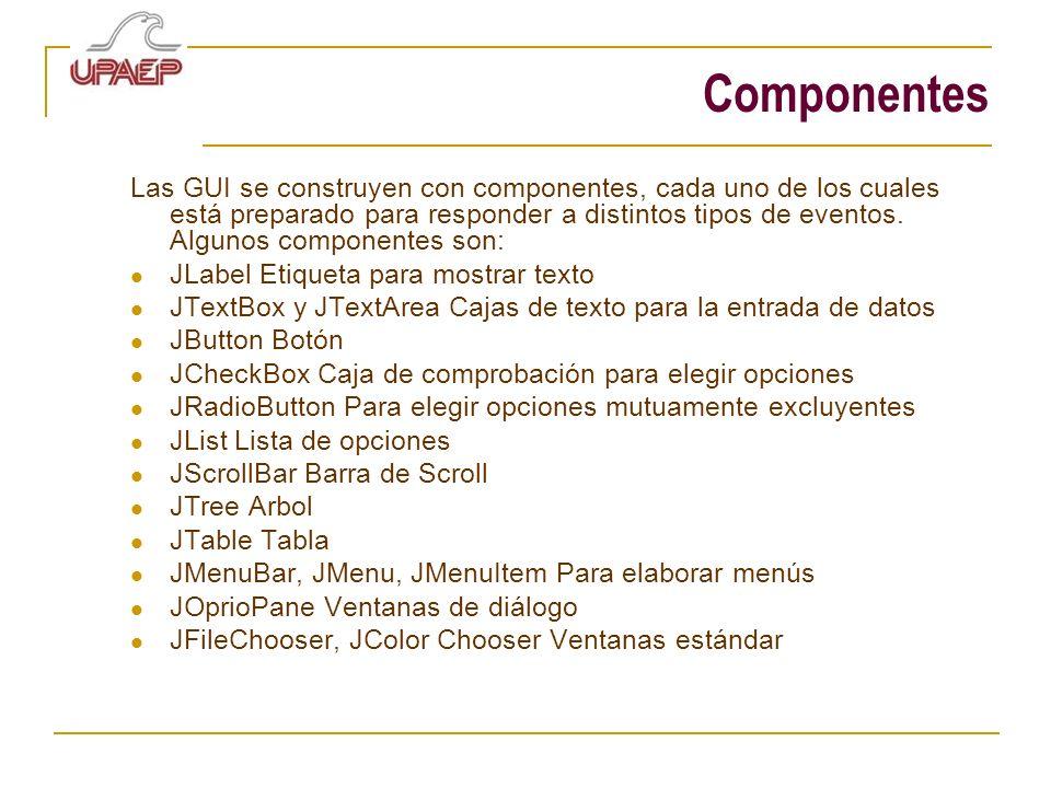 Componentes Las GUI se construyen con componentes, cada uno de los cuales está preparado para responder a distintos tipos de eventos. Algunos componen