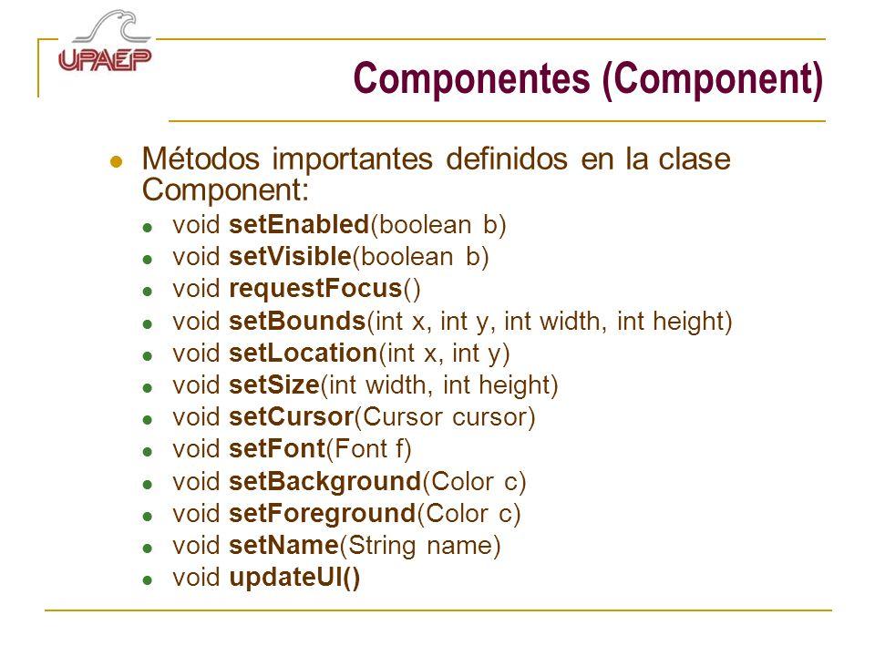 Componentes (Component) Métodos importantes definidos en la clase Component: void setEnabled(boolean b) void setVisible(boolean b) void requestFocus()