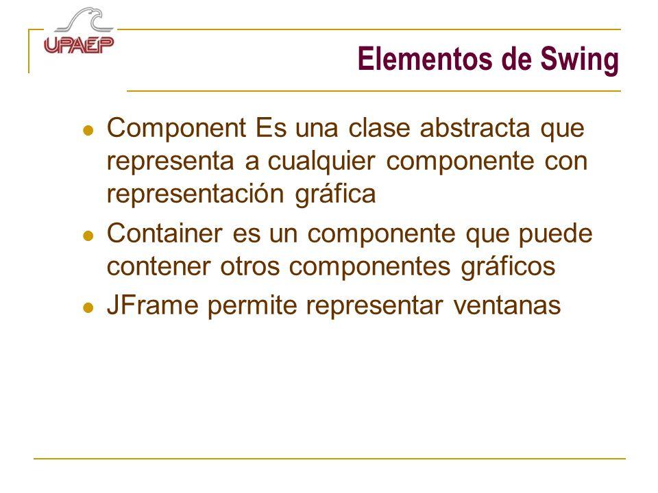 Elementos de Swing Component Es una clase abstracta que representa a cualquier componente con representación gráfica Container es un componente que pu