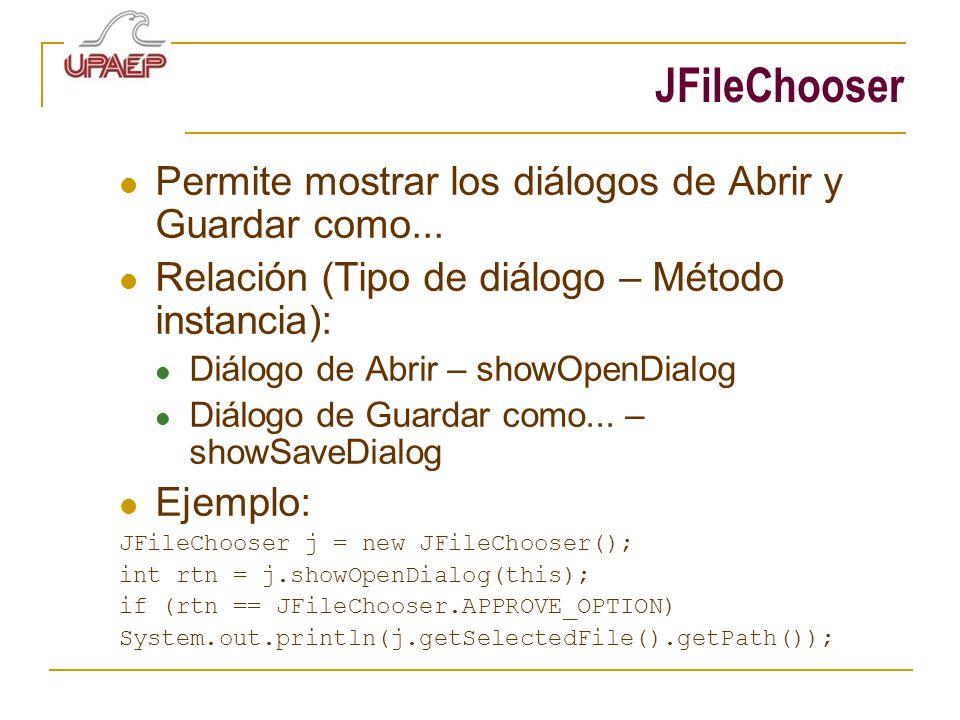JFileChooser Permite mostrar los diálogos de Abrir y Guardar como... Relación (Tipo de diálogo – Método instancia): Diálogo de Abrir – showOpenDialog