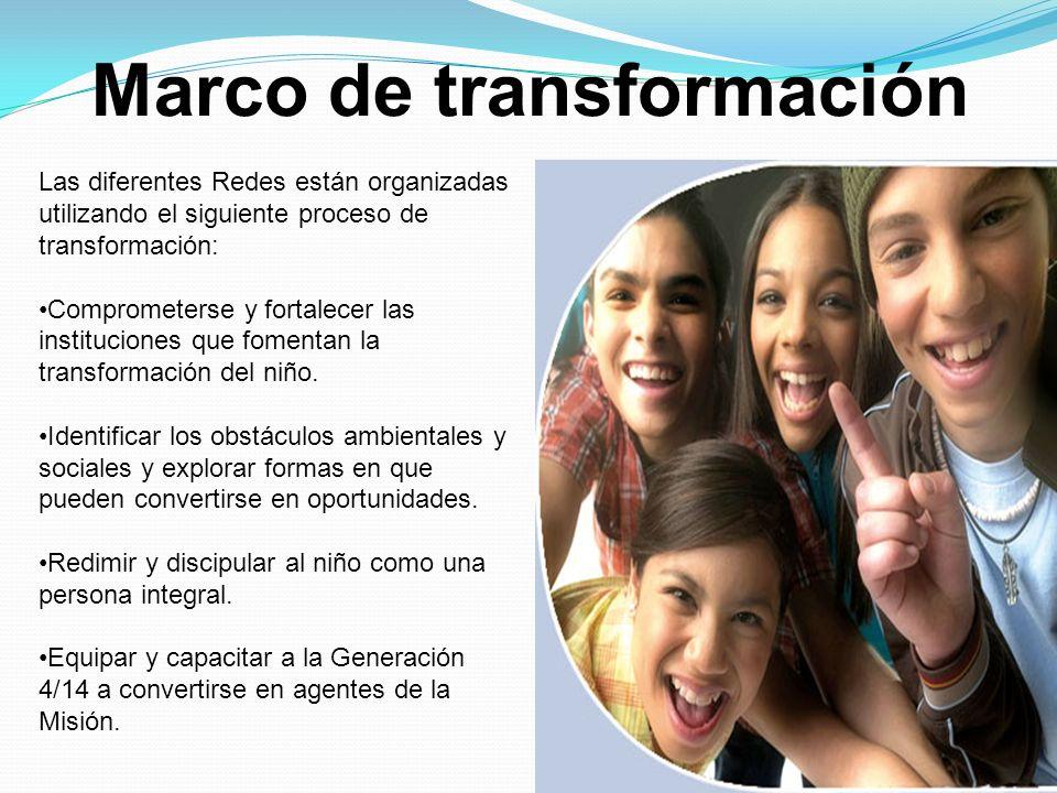 Marco de transformación Las diferentes Redes están organizadas utilizando el siguiente proceso de transformación: Comprometerse y fortalecer las insti