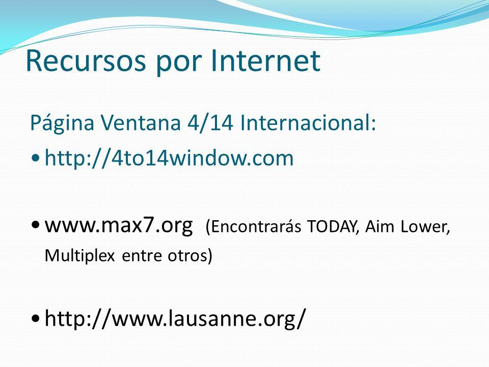 Recursos por Internet Página Ventana 4/14 Internacional: http://4to14window.com www.max7.org (Encontrarás TODAY, Aim Lower, Multiplex entre otros) htt
