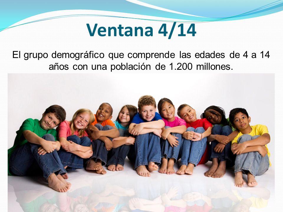Ventana 4/14 El grupo demográfico que comprende las edades de 4 a 14 años con una población de 1.200 millones.