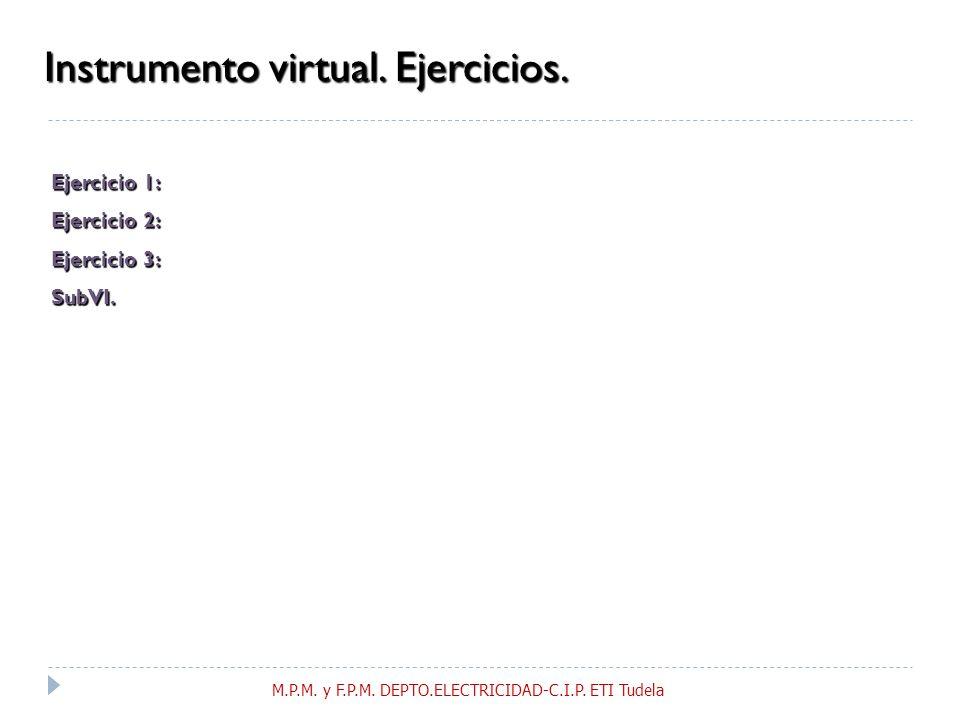 Instrumento virtual.Ejercicios. Ejercicio 1: Ejercicio 2: Ejercicio 3: SubVI.